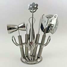 Bartender Cocktail Set Mixology 6 Pieces with Stand Stainless Steel