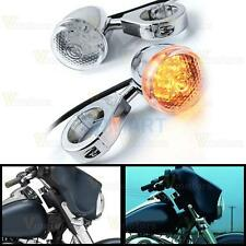2x Chrome Front Motorcycle Amber LED Turn Signal Light Indicator For Harley