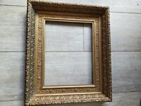 Antique Ornate Carved Gold & Black 12 1/2 X 10 Picture Frame Beautiful