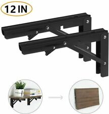 "12"" Folding Shelf Brackets, Heavy Duty Stainless Steel Wall Mounted Shelf Bracke"