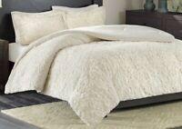 Full Queen Size 3-Piece Comforter Set Madison Park Faux Fur Reversible Bismarck