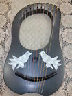 Beautiful 10 string lyre harp in black colors and birds design with free bag