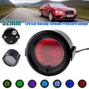 52MM 12V Car Racing Turbine Pressure Gauge LCD Digital Colorful Backlight Meter