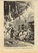 Stampa antica MAROCCO MOROCCO bazar 1885 Old antique print