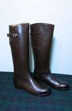 RALPH LAUREN COLLECTION SACHI BROWN BURNISHED LEATHER RIDING BOOT SZ:7.5B ITALY