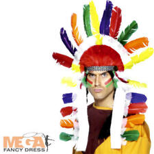 Native American Long Chief Headdress Mens Fancy Dress Red Indian Costume Hat New