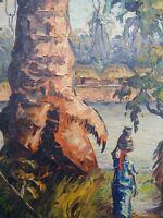 Peintre voyageur africaniste superbe tableau signé huile sur panneau village TBE