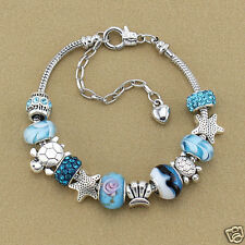 Women Charm Bracelet Fashion Jewelry Ocean Blue Crystal Glass Beads Chain Bangle