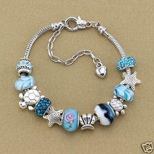 Women Charm Bracelet Fashion Jewelry Ocean Blue Crystal Glass Beads Chain Bangle