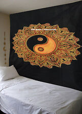 NEW INDIAN YANG YIN YELLOW BLACK HIPPIE MANDALA TAPESTRY WALL HANGING BEDSPREAD