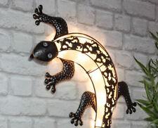 Solar Wand Deko Gecko - LED Wandbild 72 cm - Solar Lampe Garten Terrasse Leuchte