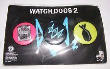 Watch Dogs 2 PREORDER BONUS THREE Button Pin Sets 2016 GAMESTOP PROMO