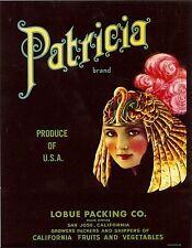 "RARE OLD ORIGINAL 1934 CLEOPATRA ""PATRICIA BRAND"" BOX LABEL SAN JOSE CALIFORNIA"