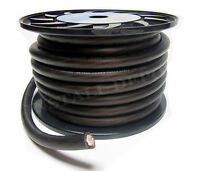 25 FT - BLACK PREMIUM 1/0 GAUGE POWER WIRE GROUND CABLE AMP WIRING OXYGEN FREE