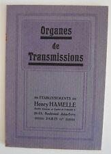 █ Catalogue éts Henry HAMELLE à Paris Organes de Transmissions pour l'industrie