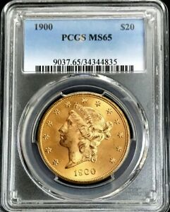 1900 GOLD US $20 LIBERTY HEAD DOUBLE EAGLE COIN PCGS MINT STATE 65