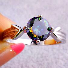 Round Cut Rainbow Topaz Gemstones Silver Ring Size 6 7 9