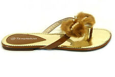 Femme plat fourrure strass bow toepost plage sandale chaussures beige taille 6/39