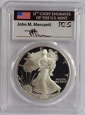 2003 W PROOF SILVER EAGLE PCGS PR70 DCAM RARE FLAG MERCANTI SIGNED LABEL
