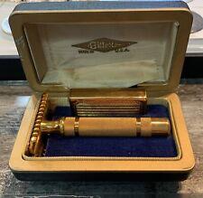 Gillette Gold Tech Safety Razor In Original Box W/Case USA Unused VTG