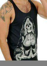 Nun Catholic Tattoo Vest Top S Black Skeleton Gothic Mans