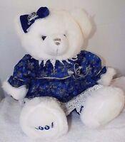 """Tb Toy 19"""" 2001 White Holiday Plush Teddy Bear Blue & Silver Shinny Dress & Bow"""