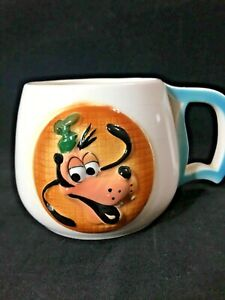 RARE 1950's Disneyland Pluto MUG Souvenir Disney Cup w/ D HANDLE