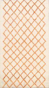 Trellis Modern Moroccan Ivory/ Orange Oriental Area Rug Handmade Plush WOOL 5x8