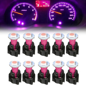 10x Purple 74 T5 1SMD LED Car Instrument Panel Dash Light Bulbs Twist Sockets