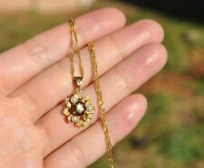 VTG NATURAL BLACK STAR SAPPHIRE & PEARL PENDANT NECKLACE - 14K SOLID GOLD ITALY