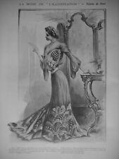 PUBLICITÉ DE PRESSE 1902 MODE TOILETTE DE DINER JUPE A LONGUE TRAINE CEINTURE OR