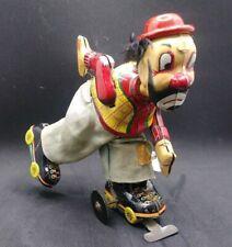 Vintage CLOWN ON ROLLER SKATE HOBO Japan Tin Litho Wind-up Toy MECHANICAL