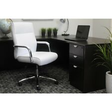 Boss Comfort Modern Padded Chrome Arms And Base Executive White Conference Chair