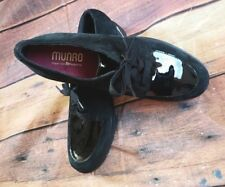 Munro Veranda Loafer Black Suede Patent Leather Flats Size 8N