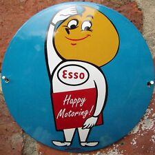 ESSO ENAMEL SIGN ESSOMAN SIGN round logo garage petrol oil porcelain VAC169
