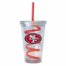 NFL San Francisco 49ers 16 oz Double Wall Acrylic Tumbler with Swirl Straw