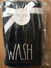 Rae Dunn Black Wash Hand Towels Set Of 2 NEW Cotton Fast Ship Large Letter