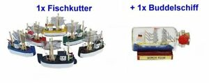 Small Fishing Trawler 3 1/8in + Miniature Bottle Ship Gorch Fock 2 3/8in