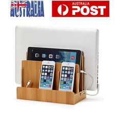 Bamboo Charging Station Charger Organize Dock Cradle Multi-Function Stand AU