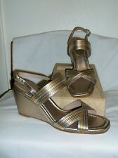 DONALD PLINER METALLIC LEATHER LAINE WEDGE SANDALS ~ 11 M