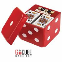 6-IN-1 Dice Cube Game Set - Board and Casino Set Includes Chess, Checkers, Poker