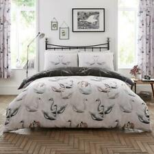 Swan Printed Duvet Cover Reversible Animal Quilt Set Bedding King Size Grey New