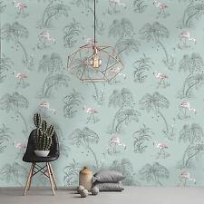 Flamingo Lake, Duck Egg Blue & Pink Tropical Wallpaper - 10m Roll