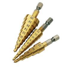 3pcs HSS Step Cone Drill Bit Titanium Hole Cutter High Speed Steel Set 4-20