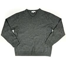 Turnbury Extra Fine Merino Wool Gray Long Sleeve V Neck Pullover Sweater LARGE