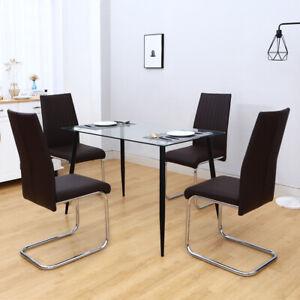 Glass Top Dinning Table Set W/2/4Pcs PVC/PU Padded Chairs Iron Frames Kitchen UK