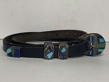 Jon Peters Turquoise Inlay Sterling Silver 4 Piece Ranger Belt Buckle Set Navajo
