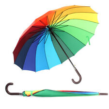 16 Rib Rainbow Golf Umbrella Ultra Durable Deluxe Strong Windproof Large Canopy