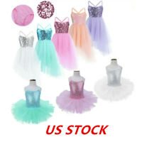 US Girls Kids Ballet Tutu Dress Sequined Skating Gymnastics Dancewear Costumes