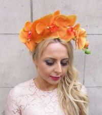 Large Orange Orchid Flower Fascinator Headpiece Races Hair Vtg Headband 4248
